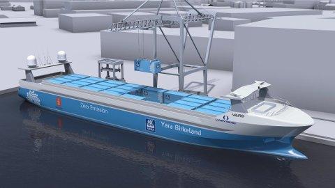KLIMATILTAK: Fra 2020 vil Yara Birkeland gå i rute mellom Yaras gjødselfabrikk i Porsgrunn og havnene i Larvik og Brevik, og erstatte hele 40.000 turer med dieseldreven lastebiltransport hvert år. (Illustrasjon/pressebilde)
