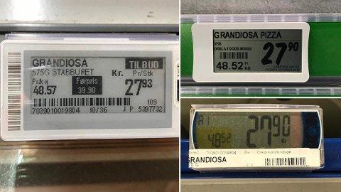 TILBUD OG TILBUD: Extra kjører denne uken tilbud på Grandiosa (prislappen til venstre). I det stille har Kiwi (prislappen øverst til høyre) og Rema 1000 (nederst til venstre) gjort akkurat det samme,