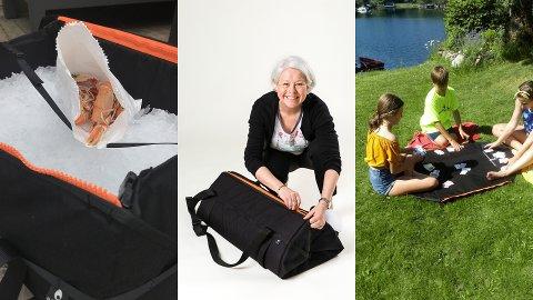 HOISK: Bagen til Karina Udland kan brukes til både iskasse for reker og spillebord for barna. Nå skal den også bli brukt til å hjelpe barn i flyktningsleire i Hellas.