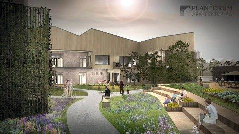 KJEMPESPREKK: De siste beregningene av kostnadene for det nye sykehjemmet på Haukerød får rådmannen til å ville bråbremse. (Illustrasjon: Planforum Arkitekter)