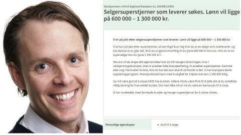 SØKER SELGER: Emil Egeland skal ansette en selger i Sandefjord, og har skrevet en stillingsannonse som skal sile ut den rette kandidaten.