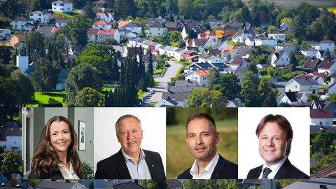 PRISUTVIKLING 2019: (f.v.) Elin Tveter i Privatmegleren, Einar Tangen i EiendomsMegler1, Thomas Otterbech i Aktiv Eiendomsmegling og Aksel Holm i DNB Eiendom.