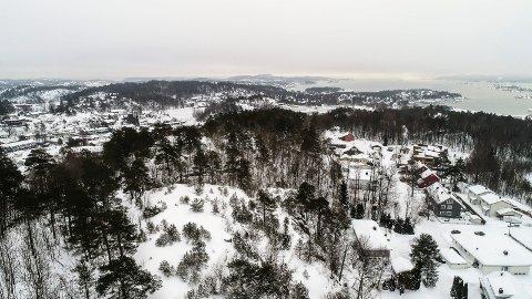 Rødsåsen. I bakgrunnen midt på bildet ligger Jotuns anlegg på Vindal og Asnesodden mot Sandefjordsfjorden.