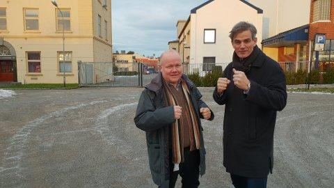 KLARE TIL KAMP: Næringssjef Jan Erik Hvidsten og ordfører Bjørn Ole Gleditsch kjemper en hard kamp for å få Vestfold tingrett til Sandefjord.