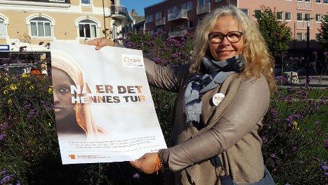 TV-AKSJONEN: Ina Marie Hagen er president i Sandefjord soroptimistklubb. Det er de som koordinerer årets TV-aksjon, som i år går til CARE og deres arbeid for å skape et bedre liv for kvinner i sårbare deler av verden.