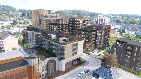 FORVANDLING: Området øst for Nybyen vil i løpet av årene framover bli helt nytt. På bildet ses Salemkirkens nye bygg t.v., som er et eget byggeprosjekt. Inter Eiendom vil bygge for 760 millioner kroner på østsiden og 153 millioner på vestsiden. (Illustrasjon: PV Arkitekter)