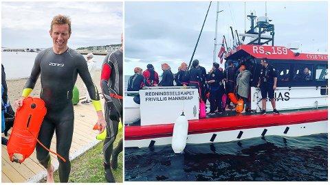 BLE HENTET: Frank Løke ble hentet av redningsskøyta RS 159 Elias under konkurransen Open Water Horten – Moss 2019.