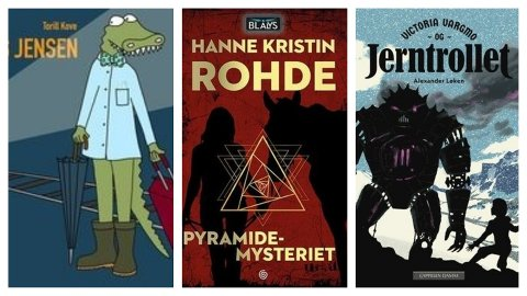 Sandefjordbibliotekene anbefaler tre barnebøker: En fantasy, en spenning, en billedbok.