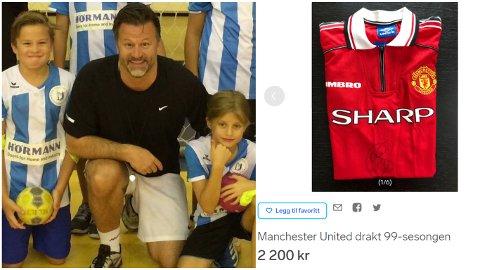 SELGER: Tor Håvard Ertsås auksjoner bort denne Manchester United-drakten, signert av Ole Gunnar Solskjær.