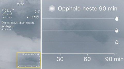 RADARVARSLING: På Yrs førsteside kan du finne radarvarslingen, som viser hva slags nedbør som måles i lufta der du er akkurat nå.