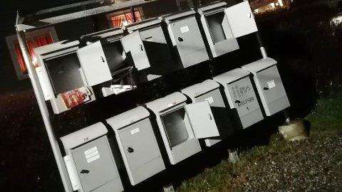 INNBRUDD: Slik så et av postkassestativene i Vindalsvingen ut en januardag i år. Nå er mannen som står bak postkassetyveriene dømt.