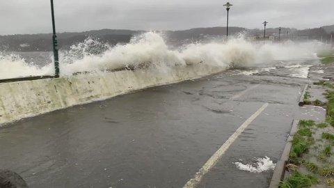 BØLGER: Sterk vind gir store bølger. Her fra innerst i Larviksfjorden.