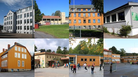 SKOLER: Byskolen, Unneberg, Sande, Helgerød, Framnes, Vesterøy, Ormestad og Gokstad skole blir historie.