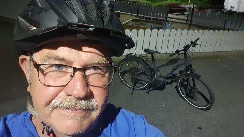 GJENSYNSGLEDE: Trondar Lien rakk bare så vidt å innse at sykkelen var stjålet før han fikk den tilbake. Allikevel var gjensynsgleden stor.