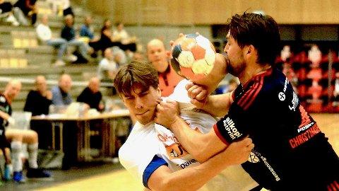 TAP: Sander Wenneberg Linderud og SH lyktes ikke mot Halden søndag kveld. Arkivfoto: Sandefjord Håndball