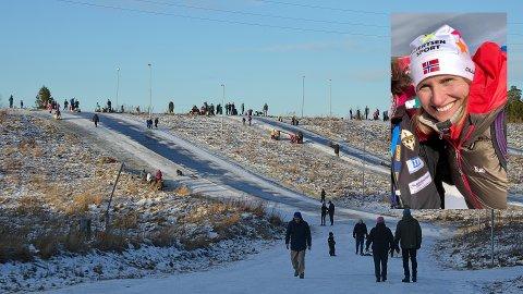 SKILØYPER: Mange bruker skiløypene på Runar som akebakker. Frida Doksrød (innfelt) i skigruppa til Runar IL sier det kan være farlig og ber folk vente med å ake til det kommer mer snø. Da skal de få en egen akebakke ved siden av.