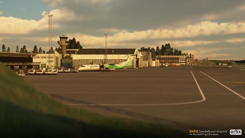 GJENSKAPT: Sandefjord lufthavn Torp er gjenskapt i spillet Microsoft Flight Simulator, og gjør at du selv kan ta av fra din lokale flyplass. Dette er et skjermbilde fra slik det vil se ut i spillet.