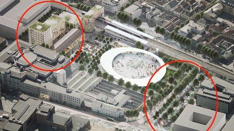 AVSTAND: Fylkeskommunen er skeptiske til avstanden mellom av- og påstigningen til bussveien (til høyre) og selve bussterminalen. Det fremmes også innsigelser mot bygningsmassen til venstre i bildet.