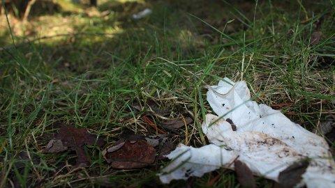 TOALETTPAPIR: Slik som dette flyter toalettpapir flere steder i Vagleskogen.