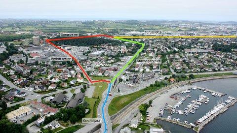 ALTERNATIVENE: Bussveien fra sentrum til Kvadrat skal gå gjennom STrandgata (blå linje) og Stavangerveien (grønn linje). De røde strekene viser alternativet med bussvei gjennom Bedriftsveien og Somaveien. Den gule linjen øverst viser eksisterende bussveitrasé.