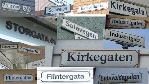 MANGE SKRIVEMÅTER: Gater og veier i Sandnes skrives forskjellig på skilt rundt forbi i byen.