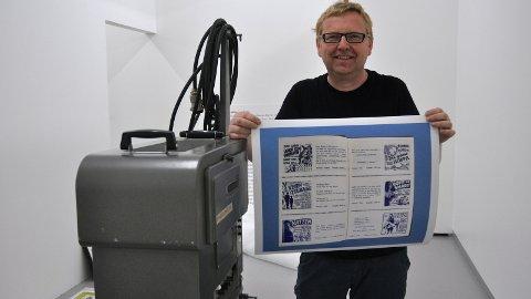 FILMEN: Gallerileiar Jan Kjetil Bjørheim har funne gamle filmplakatar, bilete, gamle kinoannonsar, filmprojektor med meir. Sundag opnar dei to utstillingane på KinoKino.