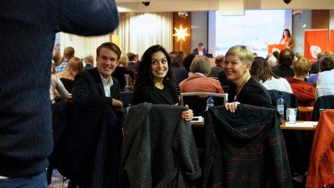 TOPPER LISTEN: Hadia Tajik topper Rogaland Aps liste til stortingsvalget. Tajik representerer Sandnes Ap i den kommende valgkampen. Fra venstre: Torstein Tvedt Solberg, Hadia Tajik og Hege Haukeland Liadal.