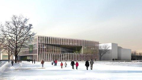 UTSMYKKING: Bystyret avgjorde i går kveld kostnader til kunstutsmykking til det nye rådhuset som skal koma i Havneparken. Illustrasjon: Code of Practice Architects