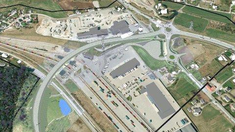 EIT BÆRANDE ELEMENT: Brua over godsterminalen på Ganddal, Brunnholen bru, er eit hovudelement i prosjektet. Den blir 25,2 meter brei og 248 meter lang.  Illustrasjon: Statens vegvesen