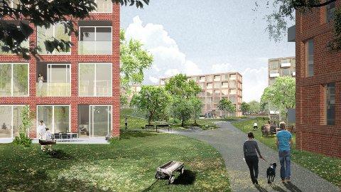 Slik kan det bli seende ut i Rådhusmarka. llustrasjon: Superunion Architects