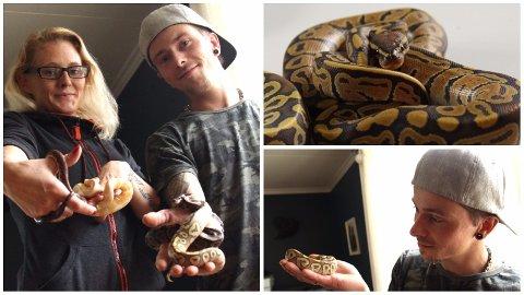 ELSKER SLANGER: Ekteparet Veronica og Rick Lint Håland har flere slanger og andre reptiler i hus. Nylig har de startet nettbutikk for nettopp reptilutstyr.