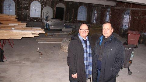 GLEDER SEG: Svein Atle Vermundsen og Ståle Nøst i Norrein Gruppen som står bak Egon-kjeden ser fram til å kunne åpne dørene i Sandnes.