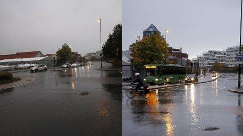 TORSDAG OG MANDAG: Mange valgte å la bilen stå hjemme mandag da de nye bomringene på Nord-Jæren trådte i kraft. Her fra Gravarsveien torsdag forrige uke og mandag morgen denne uken.
