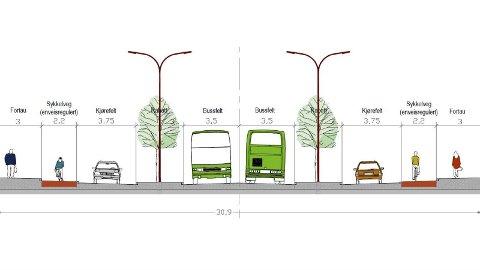 SLIK?: I forslaget til reguleringsplan er denne modellen, som vil gi 30,9 meter bredde, skissert i Stavangerveien, som blant annet går forbi Lura Turistheim.