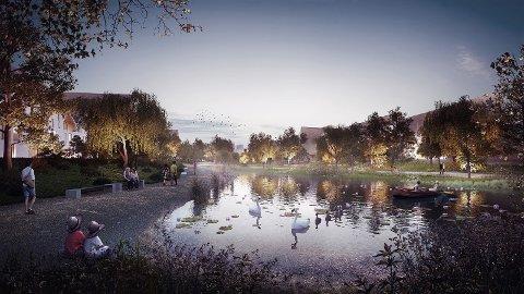 GRØNT: 550 boliger planlegges på et industriområde sør i Sandvedparken. En vesentlig del av prosjektet er å opparbeide et parkdrag i området som skal komme både beboere og turgåere  til gode.