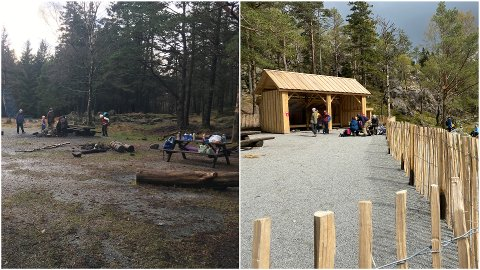 Før og etterbilder av turområdet ved Kubbetjørn.