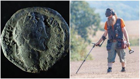 Bjørn Tjelta fant en mynt fra jernalderen på et jorde på Riska.