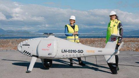 EQUINOR-OPPDRAG: I august i fjor fløy en Nordic Unmanned-drone 80 kilometer fra Mongstad til Trollfeltet i cirka 5.000 fots høyde for å frakte en 3D-printet del til livbåtsystemet. Operasjonen var verdens første operasjon av sitt slag.
