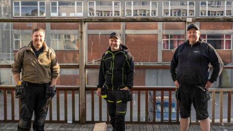 Stian Iversen (37), Stig Magne Dommersnes Nordbø (40) og John Tolleshaug (38) skal drive nattklubben Spot sammen med Marius Halås (31). Halås var ikke til stede da bildet ble tatt.