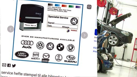 For noen hundrelapper kan du kjøpe et stempel som ser offisielt ut - og som kan brukes i serviceheftet til bilen. Brooms redaksjonssjef advarer sterkt mot dette. Faksimile: www.finn.no