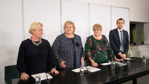 I TANKEBOKSEN: Finansminister Siv Jensen, statsminister Erna Solberg, kulturminister Trine Skei Grande og nestleder i Krf, Kjell Ingolf Ropstad er ferdig med forhandlingene.