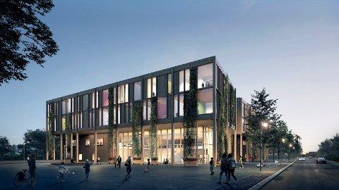 Slik er nye St. Olav videregående skole tenkt. Nå er hele skoleutbyggingen blitt usikker.