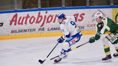 Uvisst for Emil: Emil Martinsen Lilleberg fikk en puck i hodet mot Frisk/Asker og blir mest sannsynlig ikke med til Narvik kommende helg.
