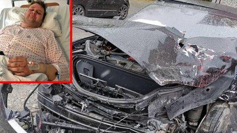 Denne Tesla Model S-en ble totalvrak, etter et uhell på E18. Men føreren, Peder Hulthin (26), kom fra det nærmest helt fri for fysiske skader.