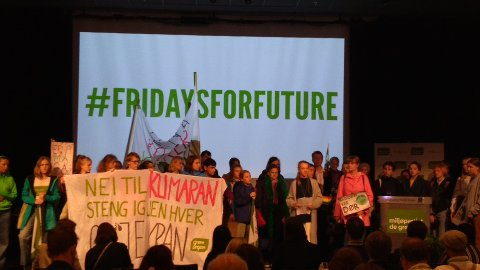 TOK OVER: Grønn Ungdom stormet scenen på MDGs landsmøte fredag 24. mai.