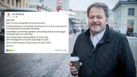 FORLATER FACEBOOK: Jan Moberg er administrerende direktør og redaktør i Teknisk Ukeblad og TU Media. Foto: (Facebook/Drammens Tidende)