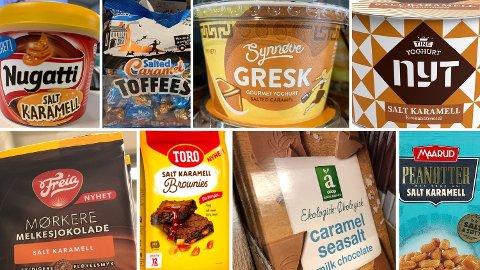 POPULÆRT: Noen av varene som har vært solgt med salt karamell de senere årene. Foto: Halvor Ripegutu/Nina Lorvik