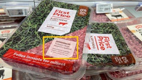 BEDRE MERKING: Norgesgruppen har nå endret emballasjen på kjøttdeig, for å tydeliggjøre opprinnelsesland bedre.