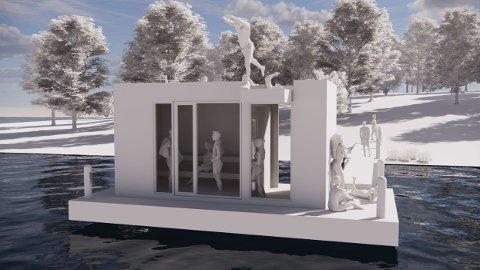FLYTENDE BADSTU: Slik ser Saltbadet og Studio Larsen Arkitektur for seg at den flytende badstuen blir i Tunevannet på utsiden av Prestegårdstangen i Landeparken.