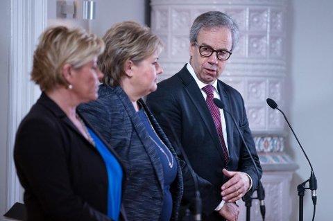 Sentralbanksjef Øystein Olsen hadde nok gode råd å gi finansminister Siv Jensen og statsminister Erna Solberg bak lukkede dører. (Foto: Audun Braastad NTB scanpix)